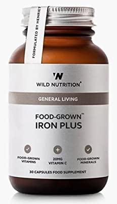 Wild Nutrition Food-Grown Iron Plus with Vitamin C, Molybdenum and Vitamin B2. 30 Capsules by Wild Nutrition