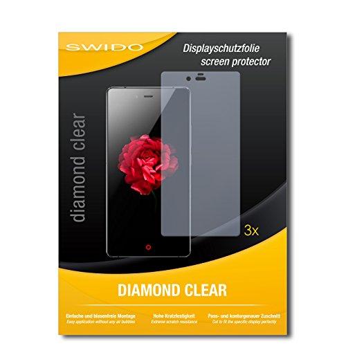 SWIDO 3 x Schutzfolie ZTE Nubia Z9 Max Bildschirmschutz Folie DiamondClear unsichtbar