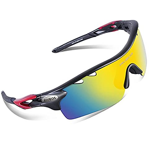 RIVBOS 801 Polarized Sports Sunglasses with 5 Interchangeable Lenses for Men Women Cycling Running Glasses(Black&Red)