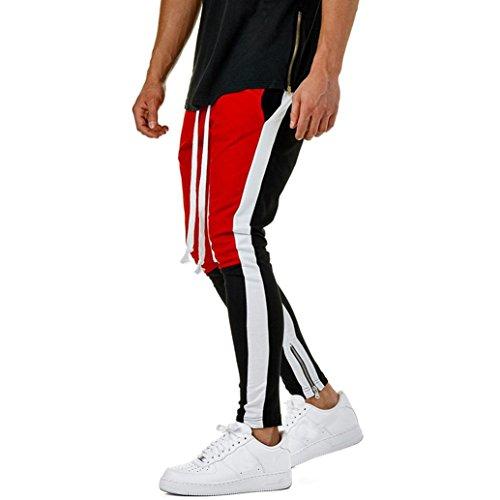 Mens Zip Joggers Pants - Lässige Fitness ❤️Workout Trainingshose Komfortable Slim Fit Tapered Jogginghose mit Taschen M/L/XL/2XL/3XL (Rot, 3XL) (Herren Chaps Polo)