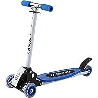 Homgrace Monopattino Scooter Pieghevole per Bambini a 4 Ruote con Altezza Regolabile 70-80cm, per Bambini 3-12 Anni (Blu)