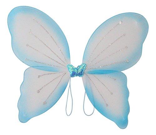 Elfenflügel, in 3 erhältlich, Karneval, Märchen, Elfe, zauberhaft, märchenhaft, verzaubernd, schön, Gummi zum Anziehen, traumhaft(Blau)