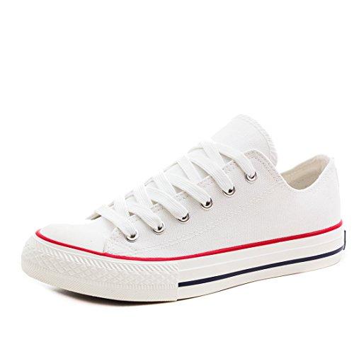 Klassische Unisex Damen Herren Schuhe Low High Top Sneaker Turnschuhe Weiß 45 (High-top-weiß Taylor Chuck)