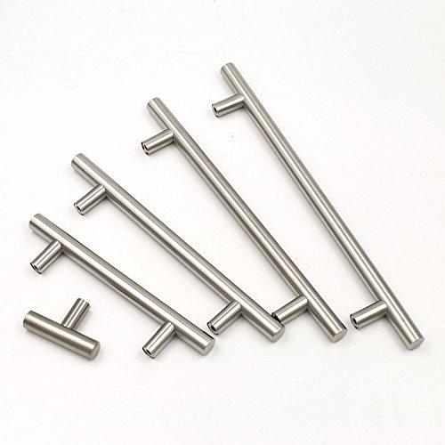 Goldenwarm - Tiradores de muebles/armarios de cocina en T, de acero inoxidable cepillado