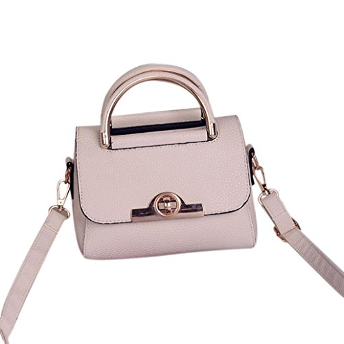Transer PU leather Handbags & Single Shoulder Bags Women Zipper Bag Girls Hand Bag, Borsa a spalla donna Grey 20cm(L)*15(H)*11cm(W) White
