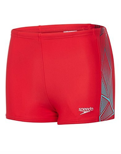 Speedo Jungen Star Kick Logo Panel Aquashorts Swimwear, Risk Red/Spearmint/Black, 164 -