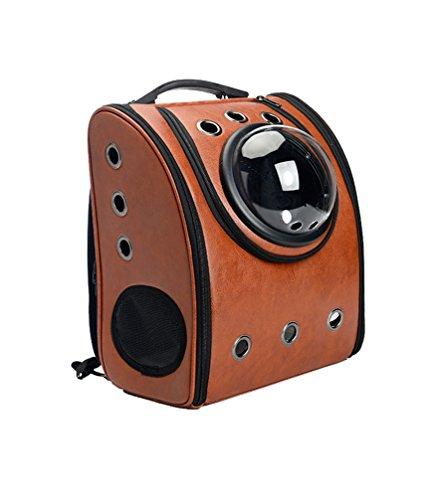 YOUJIA Hunde-Rucksack Tierrucksack Hundetaschen Transparenter, Atmungsaktiver Tragbarer Rucksack für Kleine Hunde Katzen (Braun # 2, 32*29*42CM)