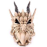 CUIAIDING statue sculpture Snarling Magical Dragon Skull Treasure Trinket Box Piggy Bank Medieval Gothic Horned Dragon Skull Sculpture Statue Coin Box-in Statues