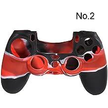 SODIAL(R) Funda Carcasa de Silicona Camuflaje para Controlador Ps4 - Rojo Negro