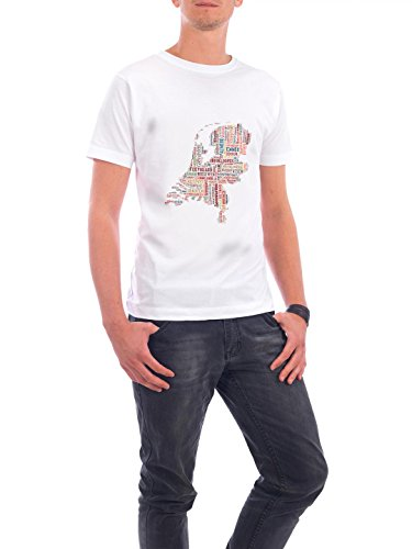 "Design T-Shirt Männer Continental Cotton ""Netherlands Map"" - stylisches Shirt Typografie Kartografie Reise Reise / Länder von David Springmeyer Weiß"
