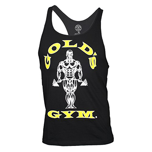 Golds Gym Tank Top Muscle Joe Contrast Stringer Tank Black