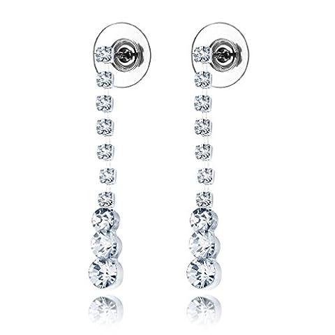 Women Elegant Crystal CZ Charm Bling Bling Long Dangle Earrings Drop
