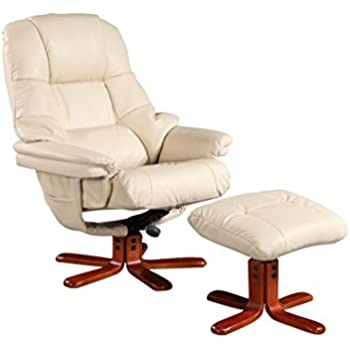 The Las Vegas swivel recliner chair and footstool in leather effect material in cream with cherry  sc 1 st  Amazon UK & The Las Vegas swivel recliner chair and footstool in leather ... islam-shia.org