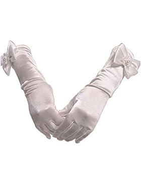 WeiMay Guanti ragazze Flower Girl Bridesmaid / Child Full Fingered Satin Bow-Knot Guanti, matrimonio e battesimo...