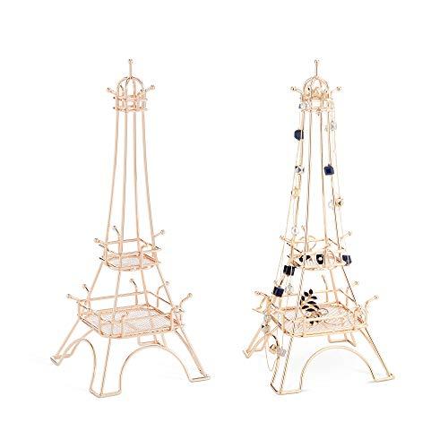 Beautify Schmuckständer - Champagner - 17 Haken (Ohrringe Eiffelturm)