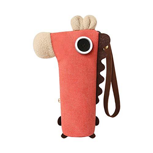 CAOLATOR Federmäppchen Pferd Form Mäppchen Leinwand Bleistift Beutel Schreibwaren Tasche Kosmetiktasche mit Griff für Junge Mädchen Schule Student, Rot (Pferd Stationär)