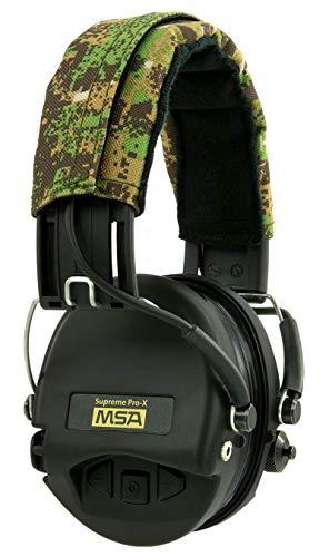 MSA Sordin Supreme Pro X Elektronischer Kapselgehörschutz | ACE-Edition (Green Camo, Schwarze Kapseln) | Aktiver Gehörschutz für Jäger und Sportschützen | Mit AUX-Anschluss
