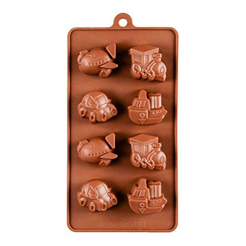 BESTONZON 8 Hohlraum Silikon Backformen Auto Schiff Boot Förmigen Silikon Süßigkeiten Formen Schokoladenform Eiswürfelbehälter (Kaffee) (Boot-kuchenform)