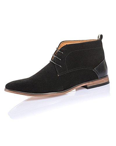 BLZ Jeans - Chaussure Montante Noir Effet Daim et Cuir