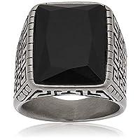 خاتم رجالي من ستينلس ستيل ومزين بنقشات دائريه (حجم الخاتم 8)