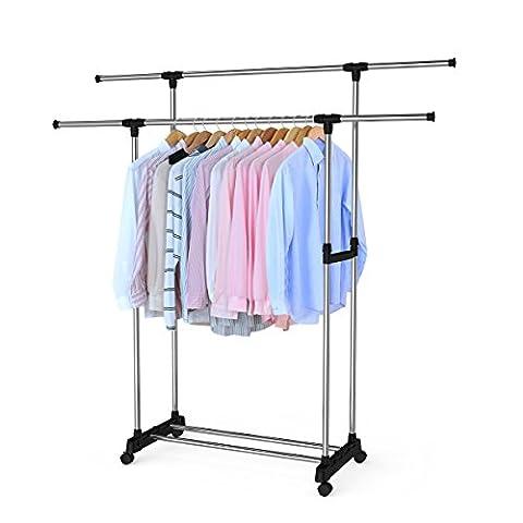 BESTOMZ Kleiderständer Garderobenständer auf Rollen Kleiderstange Doppelt
