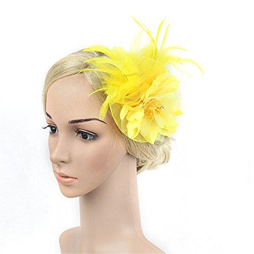 LYQ Hat Party Girls Frauen Fascinator Haarband Headwear Blume Cocktail Hut Kopf Dekoration Zubehör (Farbe : Gelb)