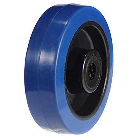 125mm Wheel with Blue Elastic rubber on Nylon centre 250kg Capacity