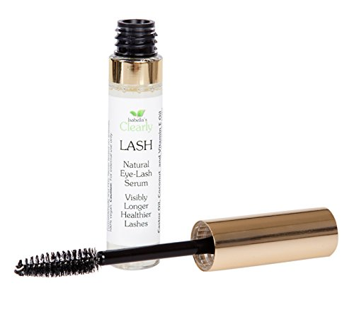 Isabella's Clearly LASH - Best Eyelash Growth Serum - Longer, Fuller Lashes and Eyebrows - Natural Fast Growth - Adds Moisture and Volume. Can use as Primer with Mascara - Pure Castor, Coconut, Vitamin E. Made in USA. 0.3 Oz.