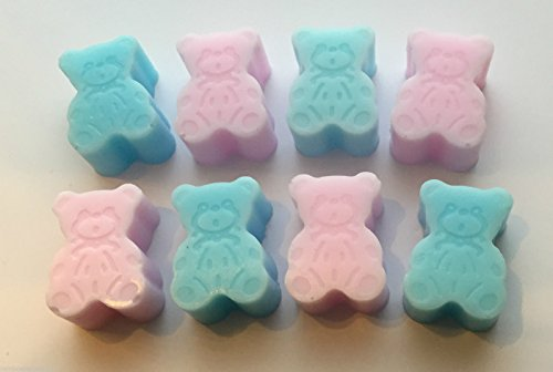 40 x Mini Teddy Bear Soaps - Baby Shower Favours PINK BLUE (Blue)