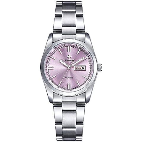 pkaty Donna Classic Business quarzo luminosa settimana calendario cinturino in acciaio inox orologio da polso argento