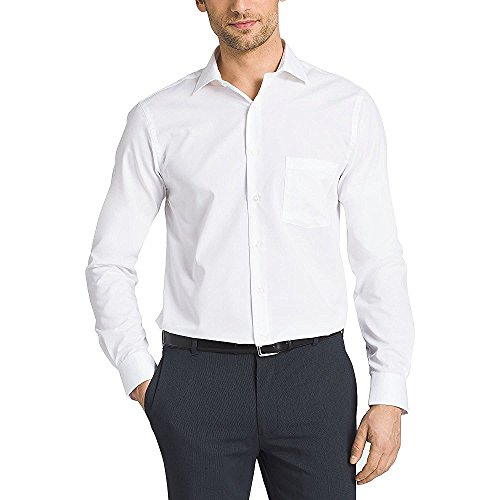 35 Knitterfrei Kleid Shirt (Kirkland Signature Herren-Kleid, taillierte Passform, 100% Baumwolle, bügelfrei - weiß - 17-34/35)