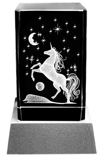 Kaltner Präsente Stimmungslicht: LED Kerze / Kristall Glasblock / 3D-Laser-Gravur Motiv Tiere EINHORN