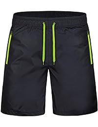 Yying Hombre Pantalones Cortos Deportivos - Bermudas Pantalones Cortos con  Cordón Cremallera Bolsillos Secado Rápido Cintura 340dfded1705