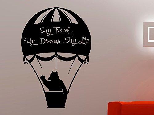 Netter Bär Silhouette Wandaufkleber Mit Fliegenden Ballon Muster Kunst Wandbild Home Wohnzimmer Special Decor Vinyl WandtattooWm45x63cm
