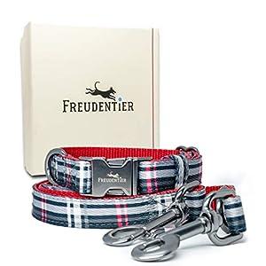 Die Freudentier Hundeleine kommt jetzt auch im praktischen Set inklusive Hundehalsband. Sowohl die Hundeleine für kleine und große Hunde sowie das Halsband aus Nylon für kleine und große Hunde kommen in einem ausgesprochen eleganten Design und bestec...