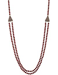 Ganapathy Gems Beads Jewellery Maroon Shell Pearl Multi-Strand Necklace For Women (12428)