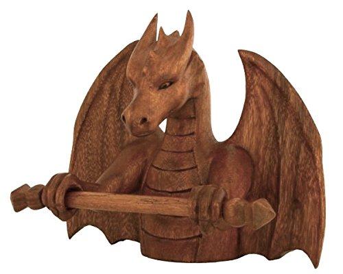 Windalf Vikingo Joyas Cadenas Soporte Arco H: 21cm Dragón Figura de Mano de Madera