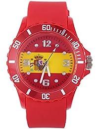 Tema de fútbol Unisex Moda Deporte Casual Suave y Confortable Patrón de Bandera de Silicona Reloj