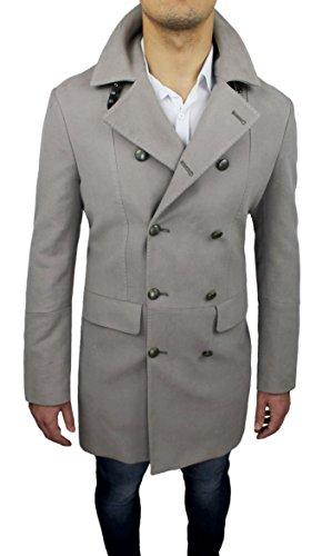 Cappotto uomo sartoriale Alessandro Gilles made in Italy beige grigio doppiopetto casual elegante (M)