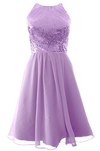 MACloth Vintage Halter Short Bridesmaid Dress Sequin Chiffon Party Formal Gown Lavande