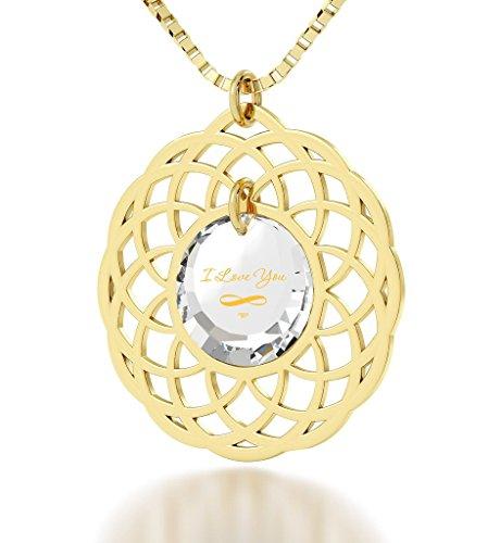 Pendentif Mandala - Bijoux Romantique plaqué Or avec I Love You et le symbole de l'infini inscrits en Or 24ct sur un Zircon Cubique Rond, Chaine en Or Laminé 45cm - Bijoux Nano Transparent
