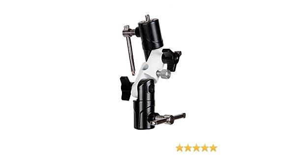 Take/® TK-DHOLDER Supporto con Doppio Snodo in Metallo per Tutti i Flash da Slitta con Attacco per Ombrello e Stativo