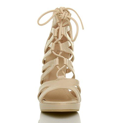 Damen Hoher Absatz Plateau Schnüren Reimchen Peep Toe Sandalen Pump Schuhe Größe Hautfarbe Matte
