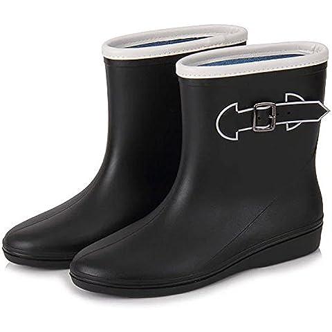 Stivali da pioggia pioggia stivali donna fibbia moda calzature Candy Color pioggia acqua, stivali fibbia laterale in gomma antiscivolo , black , 36