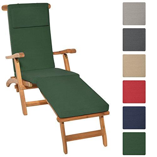 Beautissu Auflage für Deckchair LoftLux DC 175x45x5cm Luxus Polster-Auflage Liege-Stuhl - Bezug abnehmbar Dunkel-Grün