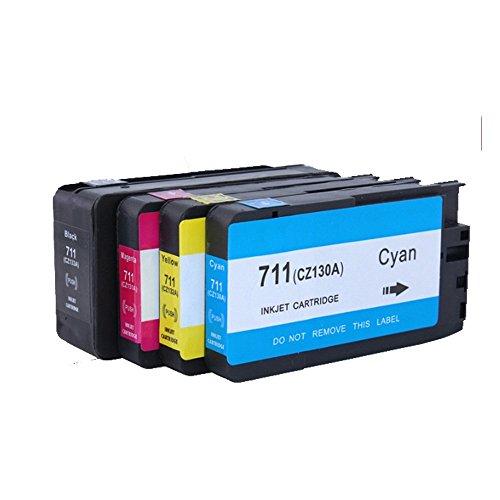 ouguan 4x (1negro + 1Cian + 1magenta + 1amarillo) Compatible HP 711711x l cartucho de tinta para HP DesignJet T120, T520impresoras