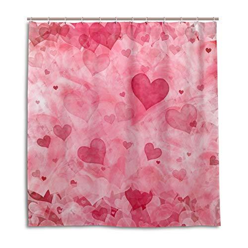 (Duschvorhänge Schimmelresistent Wasserdicht Form Pink Thema waschbar Bad Vorhang mit Robuste Haken für Badezimmer Zubehör 167,6x 182,9cm (168cm x 183cm))