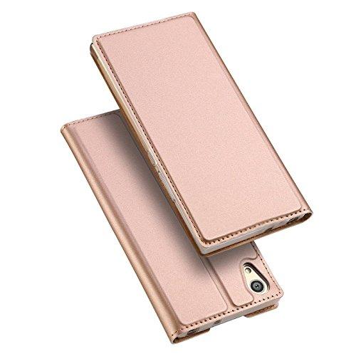 Verco Handyhülle für Xperia L1, Premium Handy Flip Cover für Sony Xperia L1 Hülle [integr. Magnet] Book Case PU Leder Tasche, Rosegold