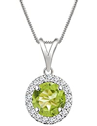 "Silvernshine 7mm Peridot & Sim Diamond Halo Pendant 18"" Chain In 14K White Gold Fn"