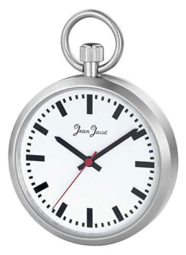 Jean JACOT Taschenuhr im bekannten Bahnhofsuhrdesign - Verchromtes Gehäuse - Typisch rote Sekunde - Bemerkenswertes Accessoire für Herren mit Stil - Gehäuse-Ø: 43 mm - Inkl. Kette und Etui - C345715